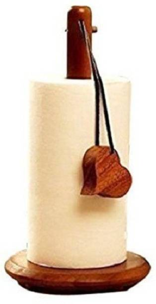 Fancy Shoppee Wood Tissue Holder/Table Decoration Tissue Pumping Wooden Tissue Paper Stand And Napkin Holder with Inbuilt Steel Screw Set of 1 Napkin Rings (Brown) Wood Toilet Paper Holder