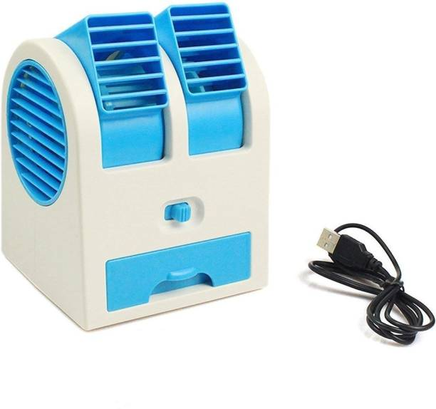 LIFEMUSIC Mini High Blowing Cooler ,Mini Fan & Portable Dual Bladeless Small Air Conditioner Water Air Cooler Powered By Usb & Battery Use Mini-Portable-USB-Air-Cooler- USB Fan, Rechargeable Fan