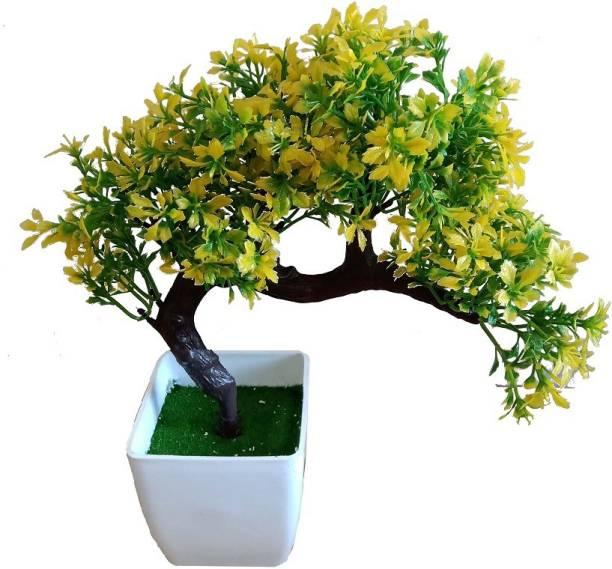 KAYKON Bonsai Wild Artificial Plant with Plastic Pot-Yellow-10 inch Bonsai Wild Artificial Plant  with Pot