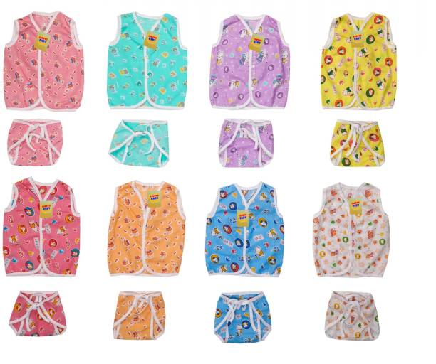 Fareto New Born Baby Front Open 8 Cut Sleeves Cotton Jhabla With 8 Matching Single Layer Nappies(Size. L-12Inchs, B-10Inchs)(0-6 Months)