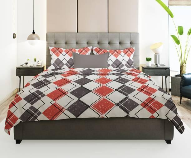 Prerak Deziners 180 TC Cotton Double Geometric Bedsheet
