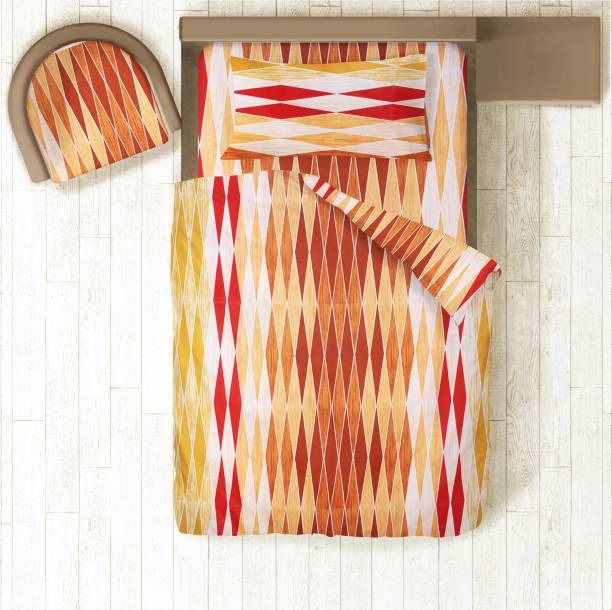 Prerak Deziners 144 TC Cotton Single Abstract Bedsheet
