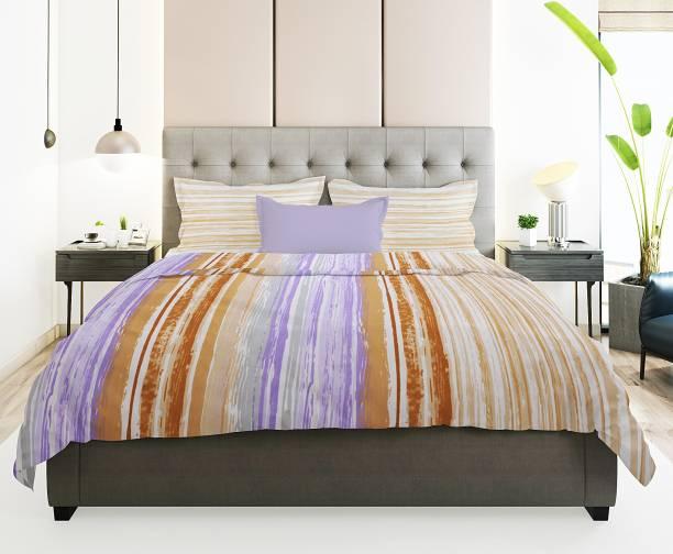 Prerak Deziners 180 TC Cotton Double King Striped Bedsheet