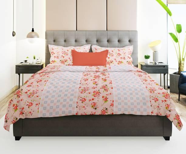Prerak Deziners 144 TC Cotton Double Floral Bedsheet