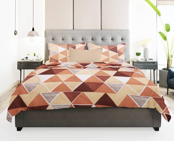 Prerak Deziners 180 TC Cotton Double King Geometric Bedsheet