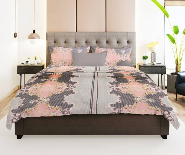 Prerak Deziners 180 TC Cotton Double King Abstract Bedsheet