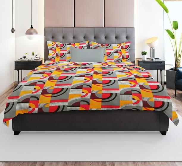 Prerak Deziners 144 TC Cotton Double Geometric Bedsheet