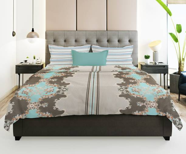 Prerak Deziners 144 TC Cotton Double Abstract Bedsheet
