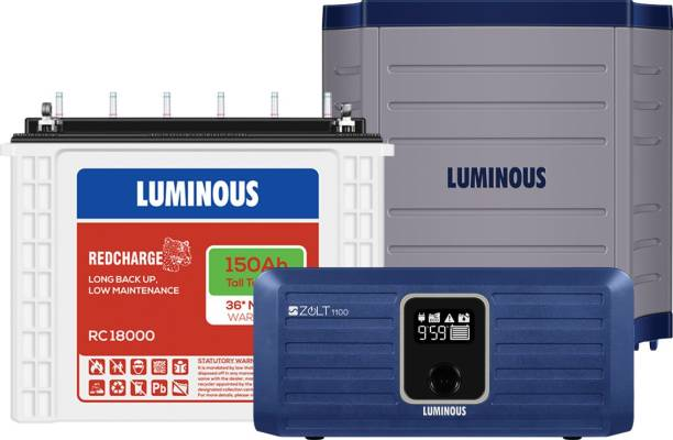 LUMINOUS Zolt 1100 with RC18000 with Trolley TX100L Tubular Inverter Battery