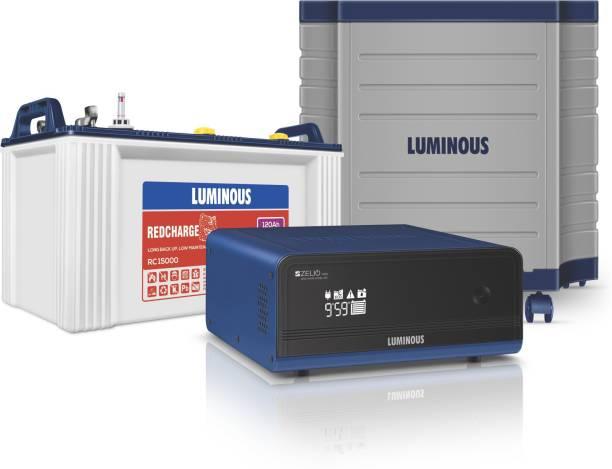 LUMINOUS Zelio 1100 + Rc15000 120 Ah Tubular Battery+ Trolley Tubular Inverter Battery