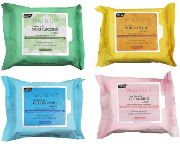 SWISS BEAUTY Oil Free Sunscreen Wipes, Gentle Clean moisturizing, Daily Essentials Cleansing Wipes, Night Calming Refreshing Wipes natural Chamomile, Vitamins & natural Lotus , natural Aloe Vera Makeup Remover