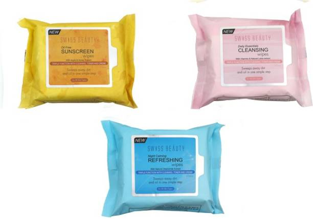 SWISS BEAUTY Oil Free Sunscreen Wipes, Daily Essentials Cleansing Wipes, Night Calming Refreshing Wipes with natural Chamomile, Vitamins & Natural Lotus, Apple & Honey Extract Makeup Remover