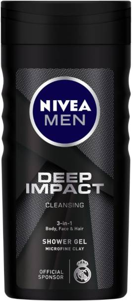 NIVEA Body Wash, Deep Impact, 3 in 1 Shower Gel for Body, Face & Hair, with Microfine Clay