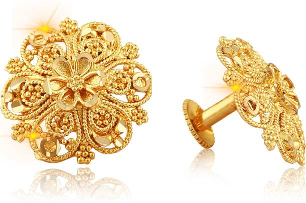 dbce25171 Vighnaharta Traditional South Screw Back Alloy Gold and Micron Plated Round  Earring Alloy Stud Earring
