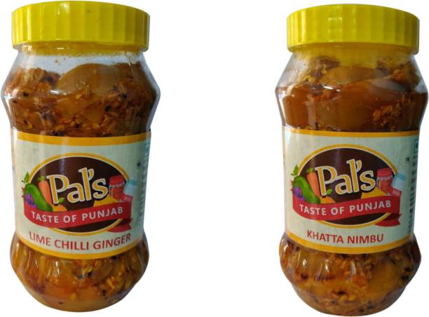 Pals The Taste Of Punjab Ready to Eat Combo of Lime Chilli Ginger And Khatta Nimbu Pickle Ginger, Lime, Green Chilli, Lemon Pickle