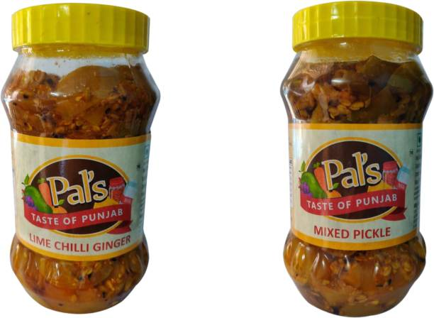 Pals The Taste Of Punjab Ready to Eat Combo of Lime Chilli Ginger And Mixed Pickle Mango, Carrot, Ginger, Lime, Green Chilli Pickle