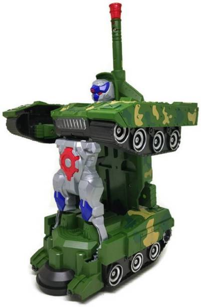 NV COLLECTION Deformation 2-In-1 Transformer Army Robot Tank with Light, Music and Bump Function