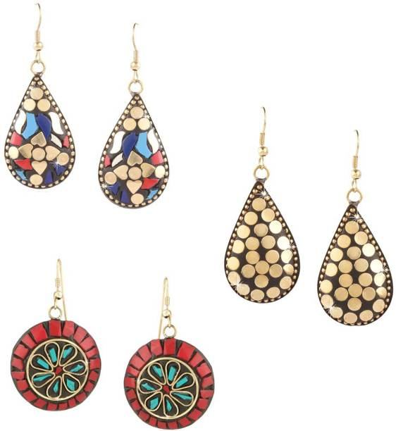752d88dc2 Divastri Handmade Tibetan Traditional COMBO of 3 Pairs Gold Plated  Red/Golden/Multicolor Dangler