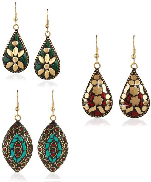 3a25c9847 Divastri Handmade Tibetan Traditional COMBO of 3 Pairs Gold Plated  Red/Green/Blue Dangler