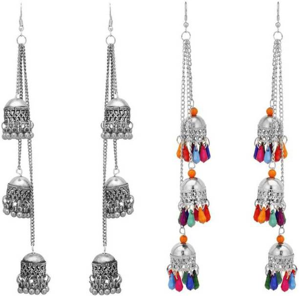 046288086 Victoria's Den Victoria's Den Combo of 2 Designer Afghani Kashmiri Tribal  Oxidized Dangle Long Earrings for