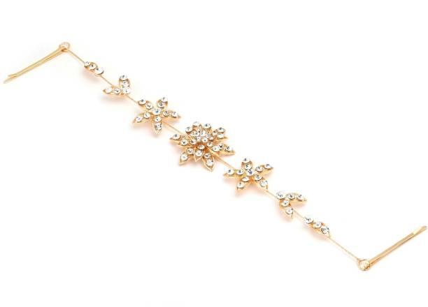 CRUNCHY FASHION Juda Jal Pearl Gold Hair Clip Big Rose pins Hair Chain