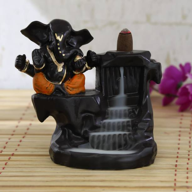eCraftIndia Lord Orange Ganesha Smoke Backflow Cone Incense Holder Decorative Showpiece Decorative Showpiece  -  13 cm