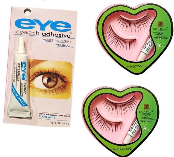 Shopeleven False eyelash [pack of 2 + 1 Glue ] waterproof & Reusable