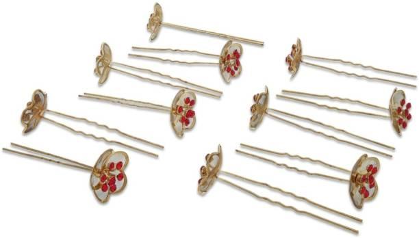 CRUNCHY FASHION Rapidsflow Bridal Flower Hair Pins Bun Clip