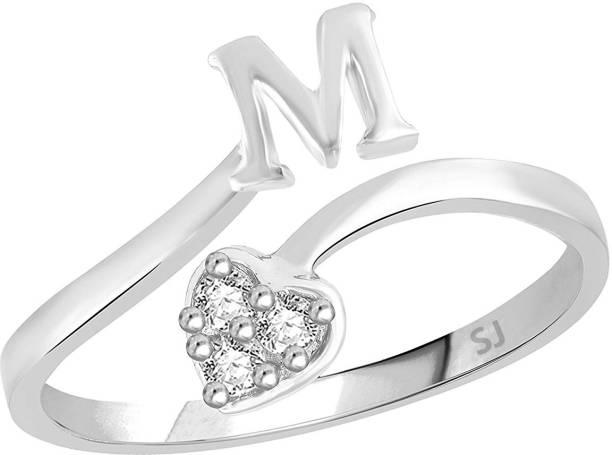 Sukai Jewels Alloy, Brass Cubic Zirconia Rhodium Plated Ring