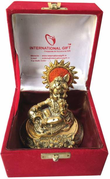 INTERNATIONAL GIFT Gold Plated Laddu Gopal Murti with Velvet Box Packing Exclusive Gift for Diwali Gift and Wedding Gifts Religious Tile