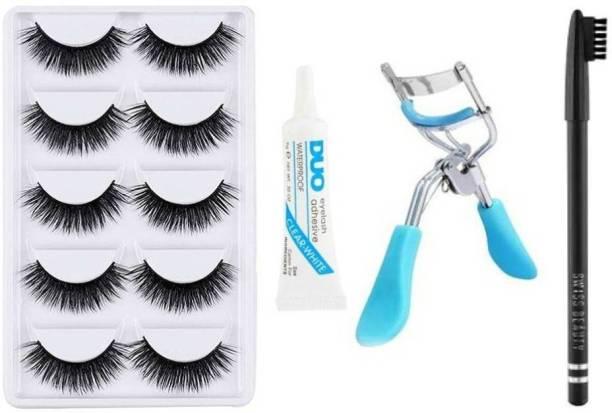 RTB 5 Pair Eyelash, Eyelash Curler, Eyelash Glue With Black Eyebrow Pencil