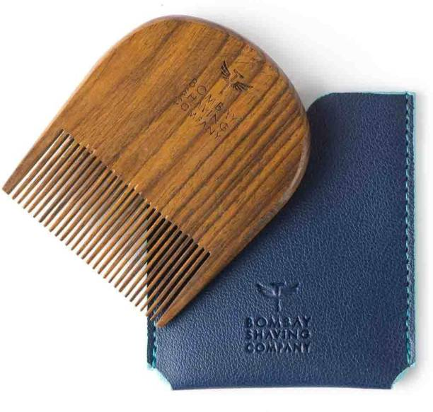 BOMBAY SHAVING COMPANY U Shaped Beard Comb made with Sheesham Wood and Free Faux Leather Pouch
