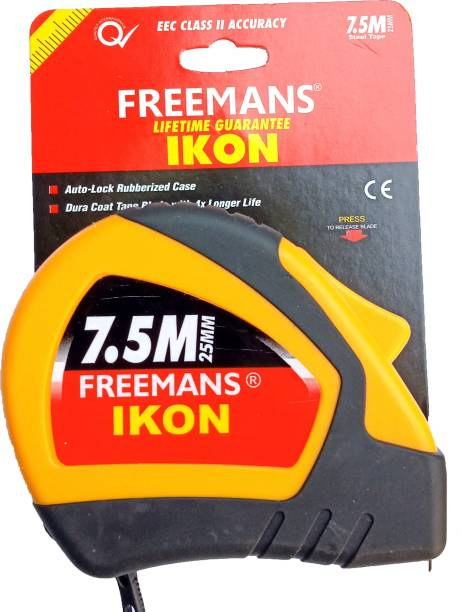 FREEMANS 7.5mtr 25mm ikon rubber grip home and professional use heavy duty hard tape Measurement Tape