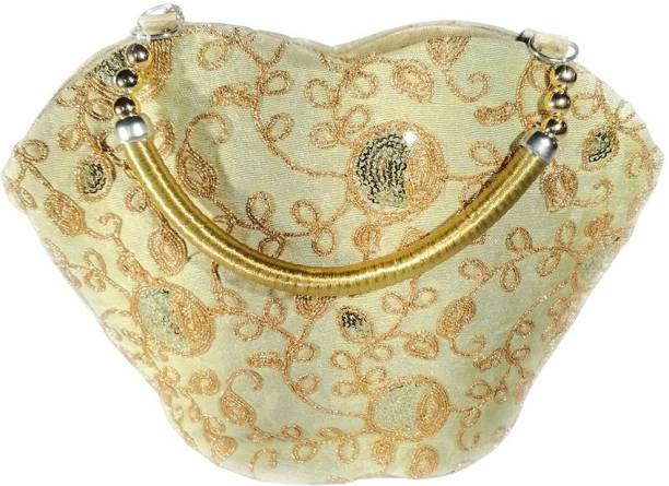 6180efcd2d3f DsGifts Womens Hand Embroidered Mini Clutch Bag with Handle Beige Potli