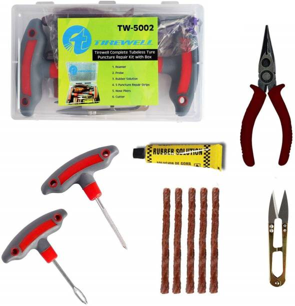 TIREWELL TW-5002 6 in 1 Universal Tubeless Tire Puncture Kit Emergency Flat Tyre Repair Patch Tool Box for Car Bike SUV and Motorcycle Tubeless Tyre Puncture Repair Kit