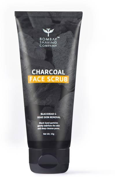 BOMBAY SHAVING COMPANY Charcoal Face Scrub with Black Sand, Exfoliates skins & Removes Black Heads, Black, 45 g Scrub
