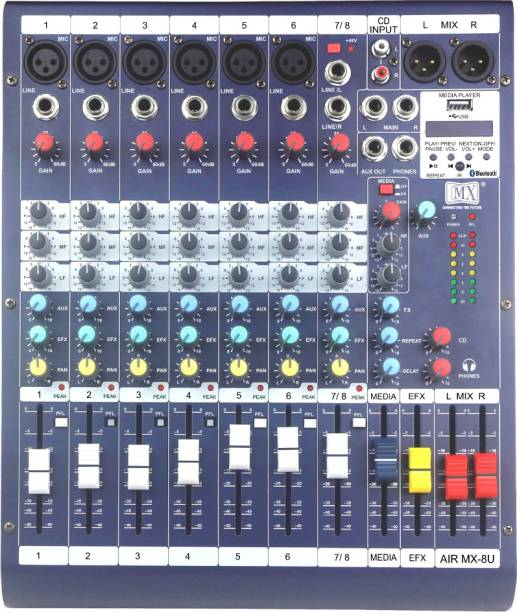 MX Live Audio Mixer 8 Channel Professional Mixer with USB & Bluetooth- AIR8USB Analog Sound Mixer