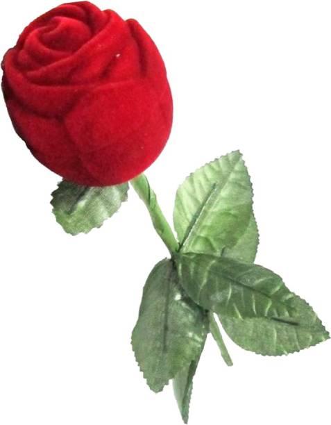 KINDRED Red Rose Shaped Ring Box , Designer Ring Box, Rose Ring Box Ring Holder Vanity Box