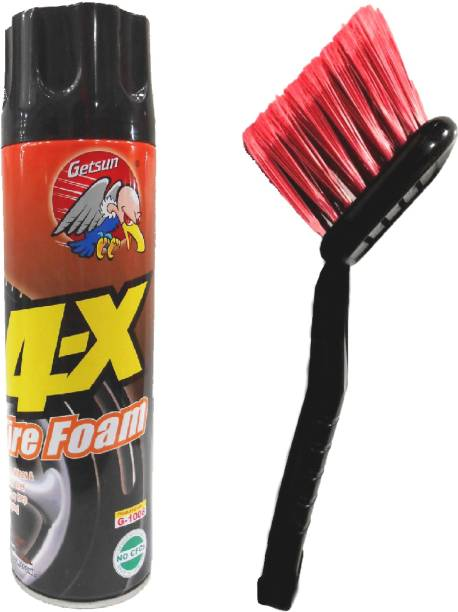GETSUN 4x Tire Foam PLUS Long Handle Cleaning Brush for Wheel, RIM & Tire Care - Cleans, Shines and Protects 650 ml Wheel Tire Cleaner