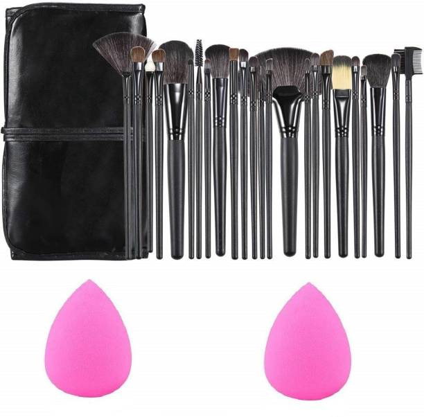 SKINPLUS Professional Wood Make Up Brushes Sets With Leather Storage Pouch - 24 Pcs + 2 SPONGE PUFF