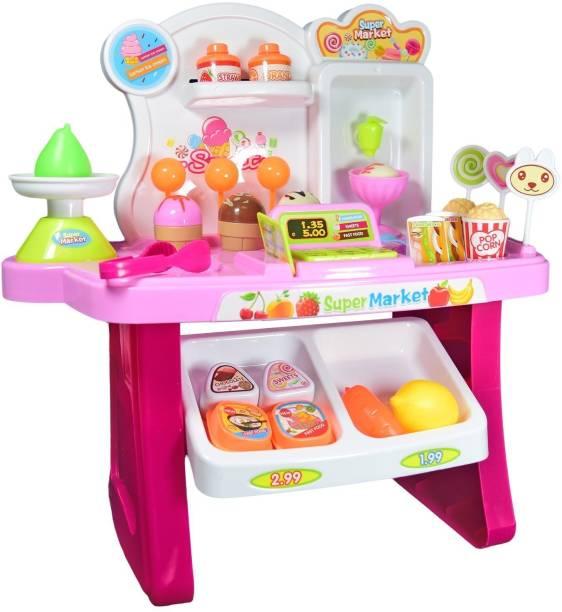 Elektra 34 PCS Kids Mini Supermarket Assemble Play Set with lights & Sounds Toy for Kids