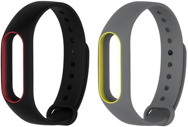 Epaal Black-Redline & Grey-Yellowline Dual Color Band Compatible with Mi Band 2 & Mi Band HRX Smart Band Strap