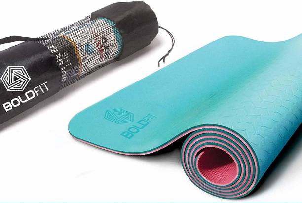 BOLDFIT ProGrip Yoga Mat for men and women, (6mm) Extra Thick, Anti skid with carrying bag Red 6 mm Yoga Mat