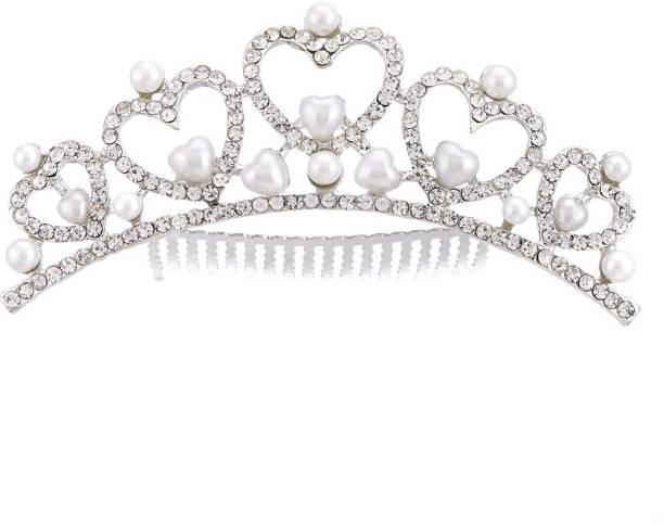 ZENEME Fashion Designer Pearls in a Heart Princess Tiara Hair Comb for Women/Girls Hair Band