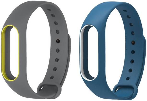 Epaal Blue-Whiteline & Grey-Yellowline Dual Color Band Compatible for Mi Band 2 & Mi HRX Band Smart Band Strap Smart Band Strap Smart Band Strap