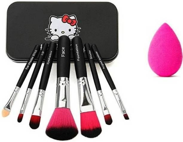Butees18 7pc Makeup Brush Set Metal + 1 Makeup Puff