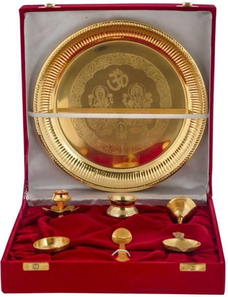 INTERNATIONAL GIFT Gold Pooja Thali Set with Beautiful Velvet Box Packing (25 cm, Silver) Brass