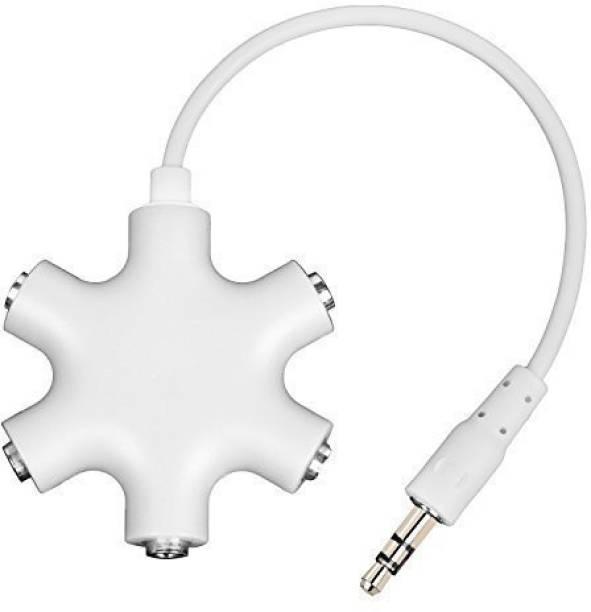 Gabbar White ™ 3.5mm Stereo Audio Splitter Adapter Headset Headphone Earphone + 20cm AUX Phone Converter
