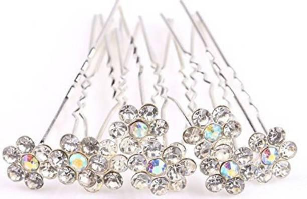 Samridhi DC Top trending Crystal Rhinestone Juda Hair Pins For Bun Decoration, Hair Style Use For Women And Girls Hair Pin