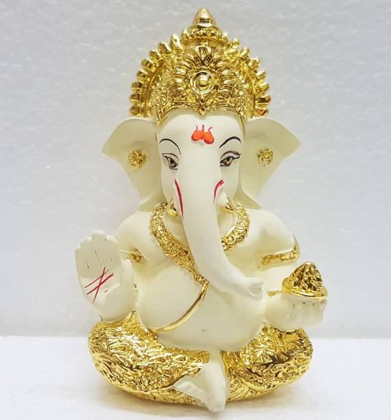 Gold Art India Gold Art India Gold plated off White Mukut Ganesha (9x5x4)/ Ganesha online/ God ganesh idol/ Gold plated Ganesha/ Car ganesh/ Vinayagar/ Car dashboard ganesha/ Ganesh Murti/ Decorative Showpiece  -  9 cm